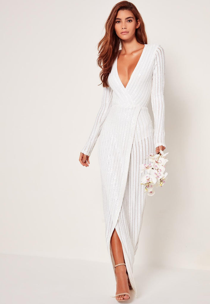 Sequin Stripe Wrap Gown