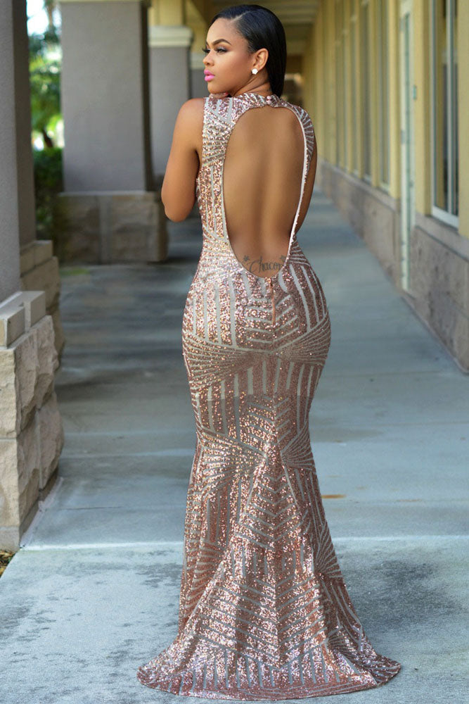 Rose Gold Sequin Gown