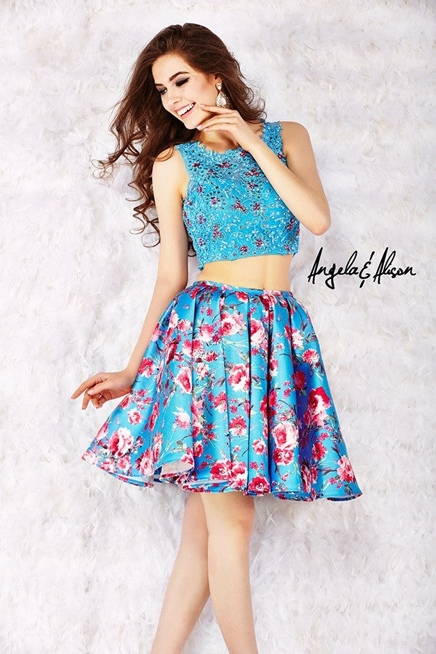 Turquoise Rose Skirt 2 Piece