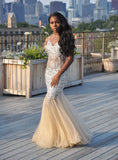 Nude & Silver Criss Cross Gown
