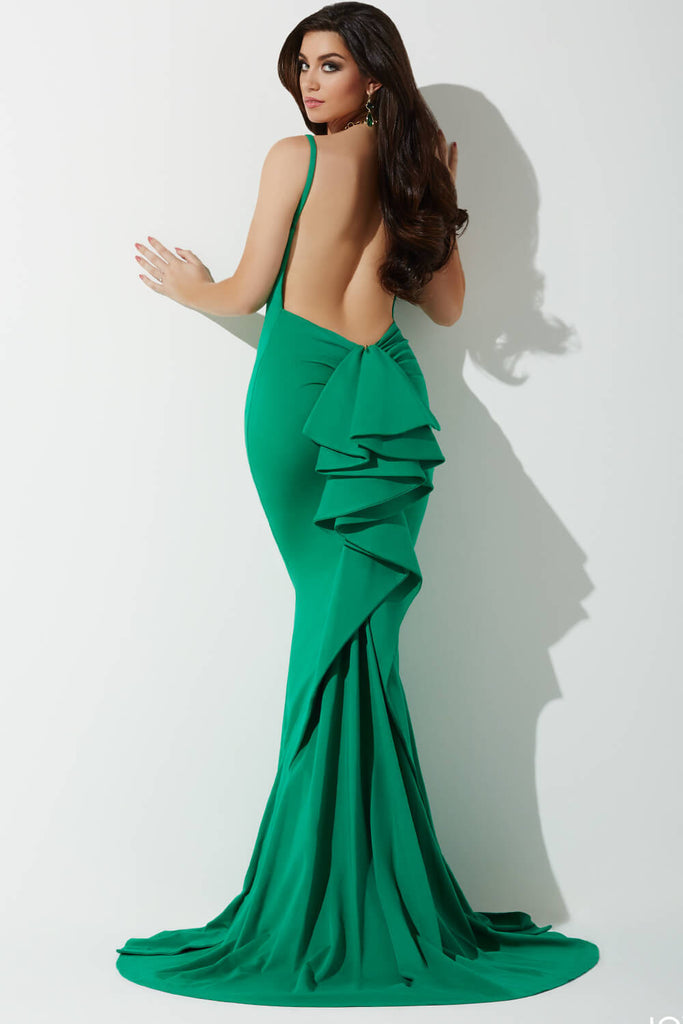 Ruffle Back Green Gown