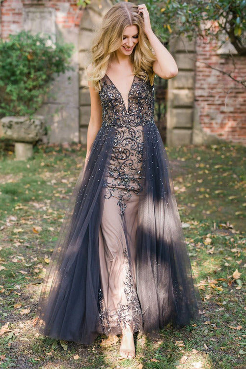 Tulle Overlay Skirted Gown