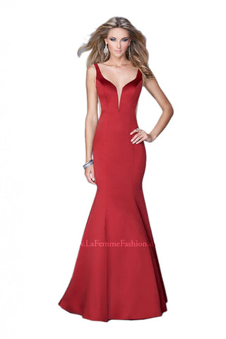 Ruffle Back Red Gown
