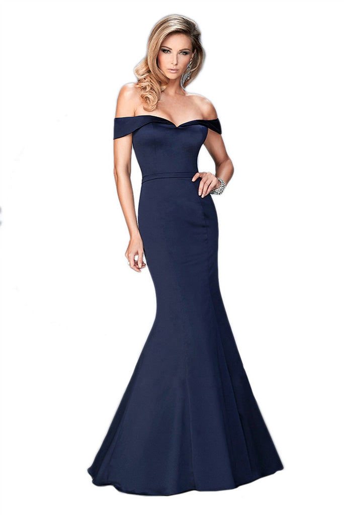 Navy Off Shoulder Gown