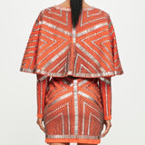 Kimono Orange Embellished Dress