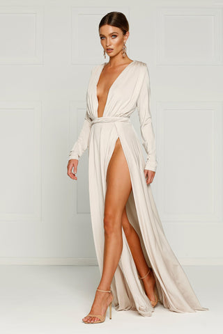 White Jersey Cut Out Gown