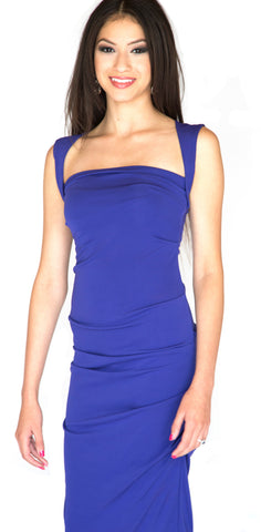 Ombre Blue Faille Dress