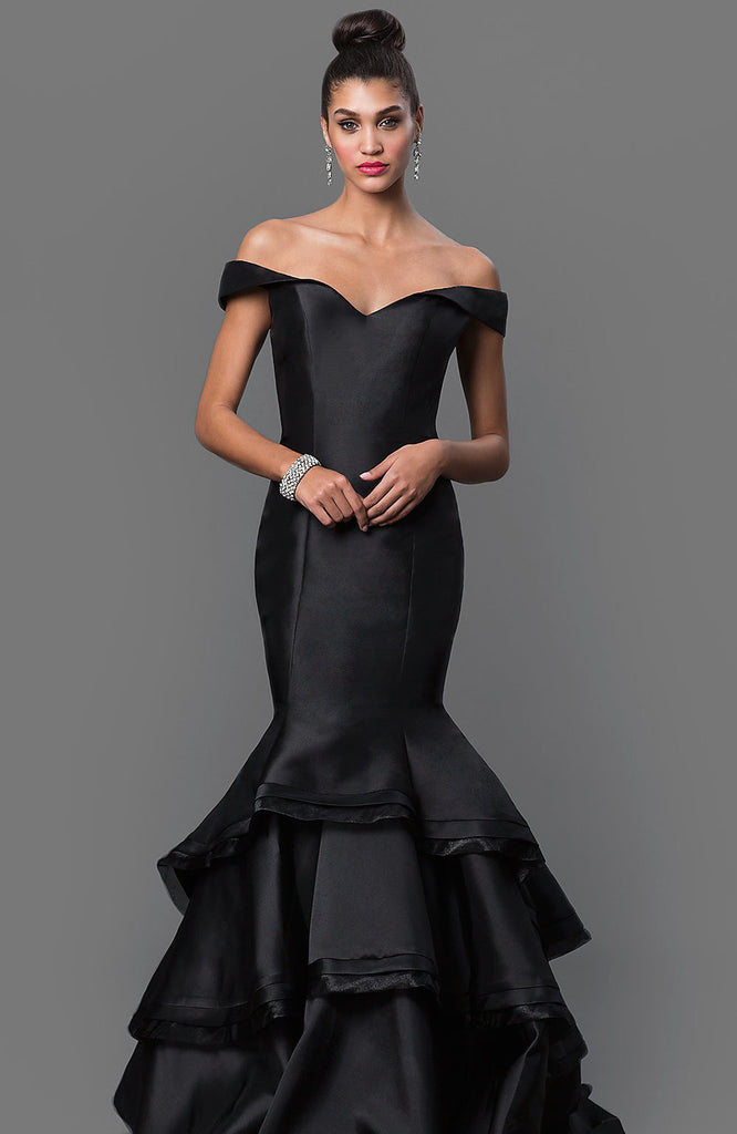 black mermaid prom off shoulder dress