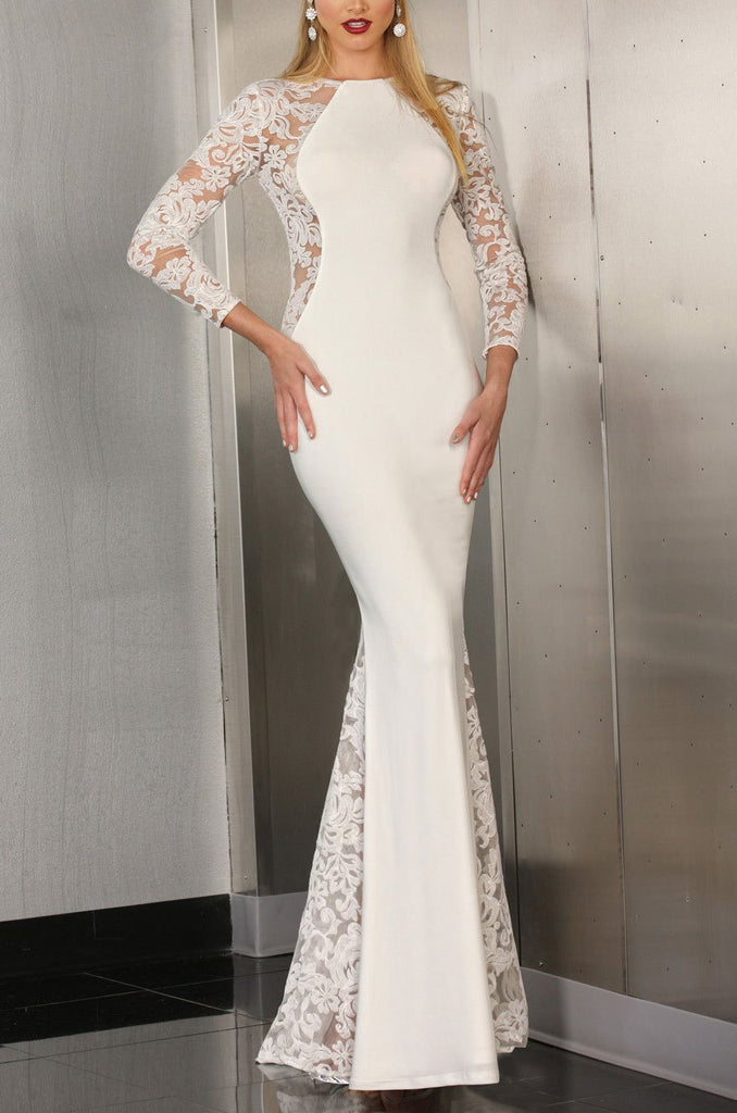 Ivory & Lace Panel Gown