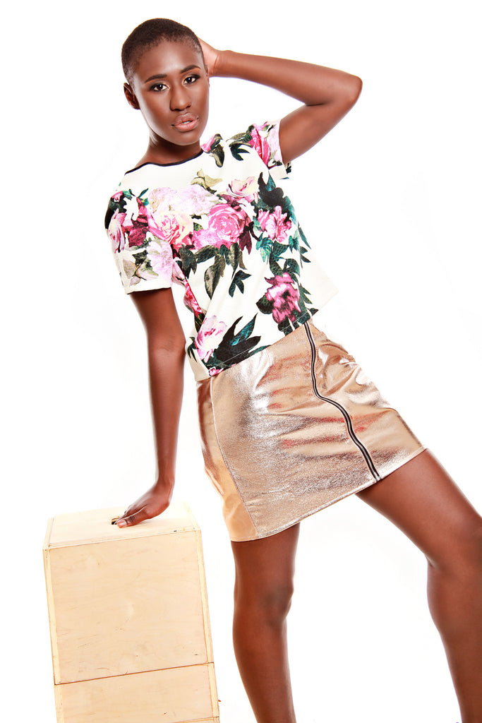 PIT Short Sleeve Flower Print Top