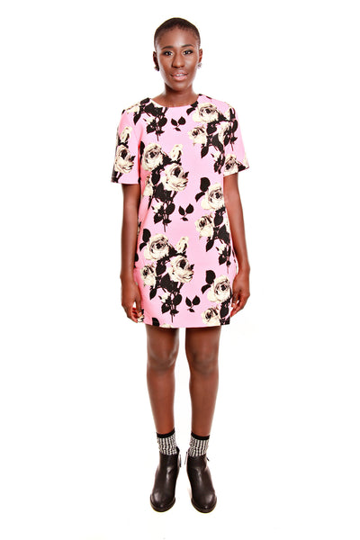 PIT Short Sleeve Flower Print Dress