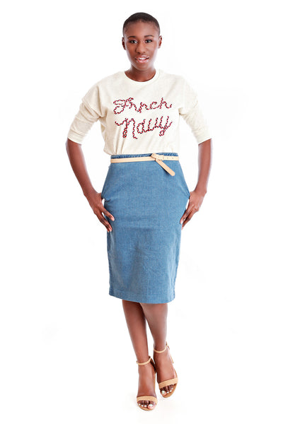 FRNCH Denim Pencil Skirt