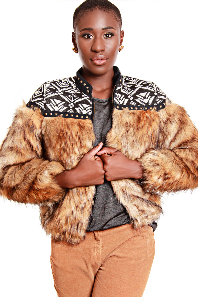 Alphamoment Embroidered Fur Jacket