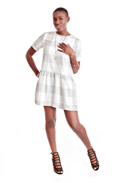 English Factory Plaid Drop Hem Dress