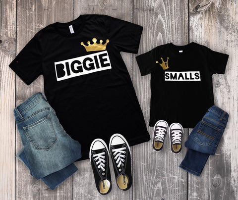 1160acdce4e7 Biggie Smalls Mommy and Me   Daddy and Me Adult Child T-shirt Set ...