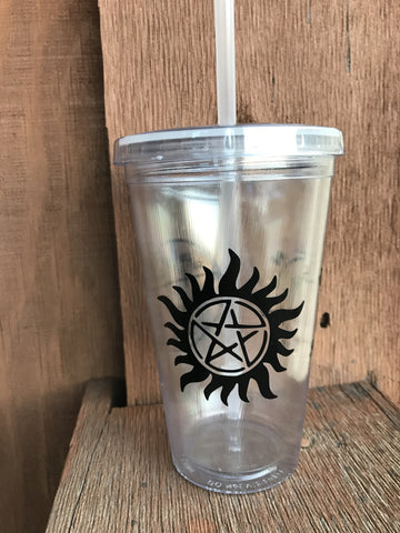 Supernatural Signage Clear Tumbler