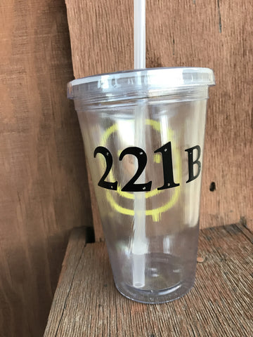 Sherlock Inspired 221B Smiley Face Clear Tumbler
