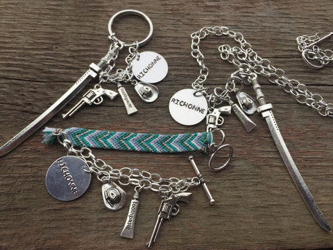 Richonne Keychain, Charm Bracelet, Necklace, Rick Grimes and Michonne Themed