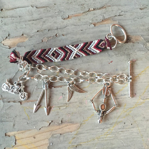 Daryl Dixon Inspired Poncho and Custom Charm Bracelet