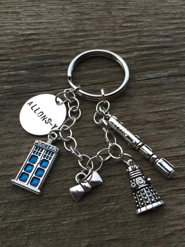 Whovian Doctor Keychain and Custom Charm Bracelet