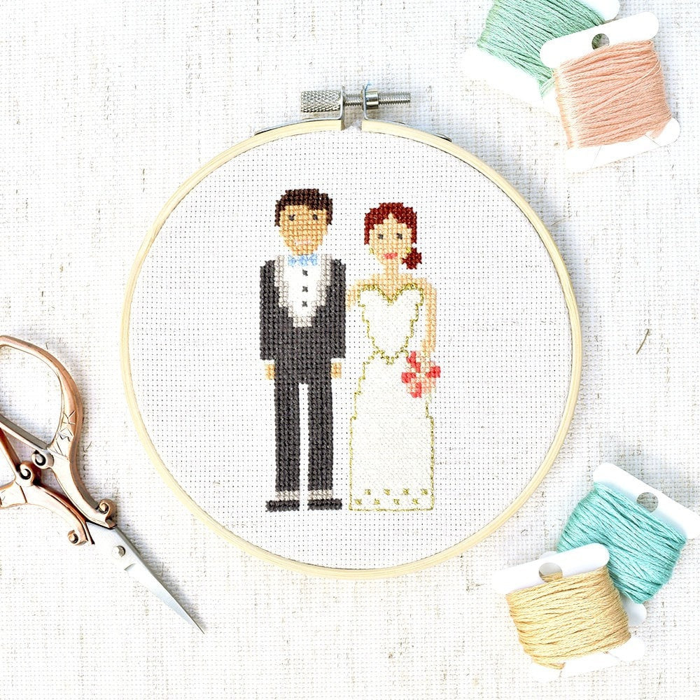 Wedding Portrait Cross Stitch Pattern - Digital PDF - [product_type)] by Colour and Cotton