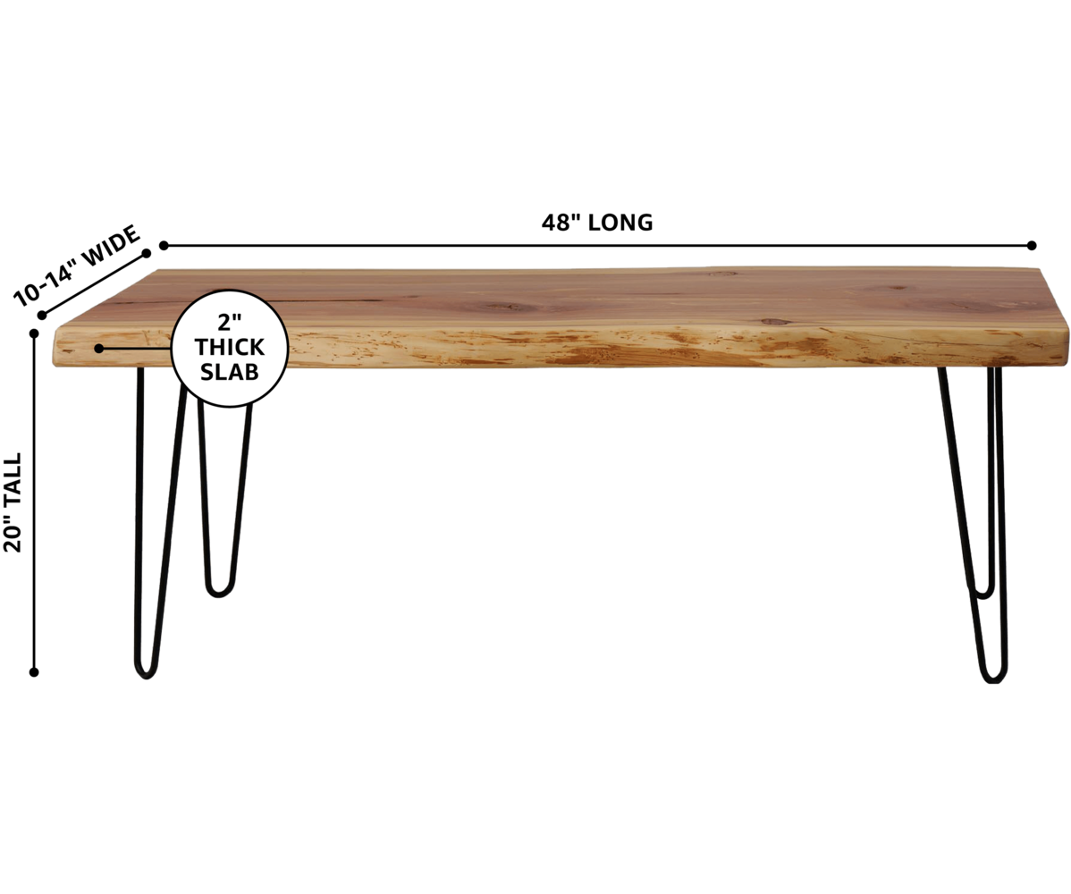 Live Edge Slab Top Bench with Dimensions by Knaughty Log Co