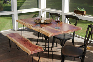 Live Edge Hairpin Slab Table - Handmade in the USA
