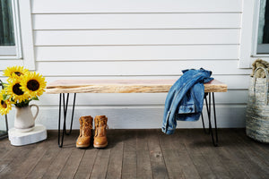 Live edge bench made for indoor and outdoor use by Knaughty Log Co.