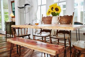 Live edge dining table bench made of Eastern Red Cedar by Knaughty Log Company in the USA.