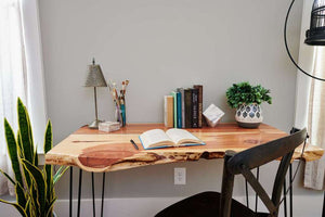 Raw edge desk made of all natural, eastern red cedar wood slabs by Knaughty Log Co.