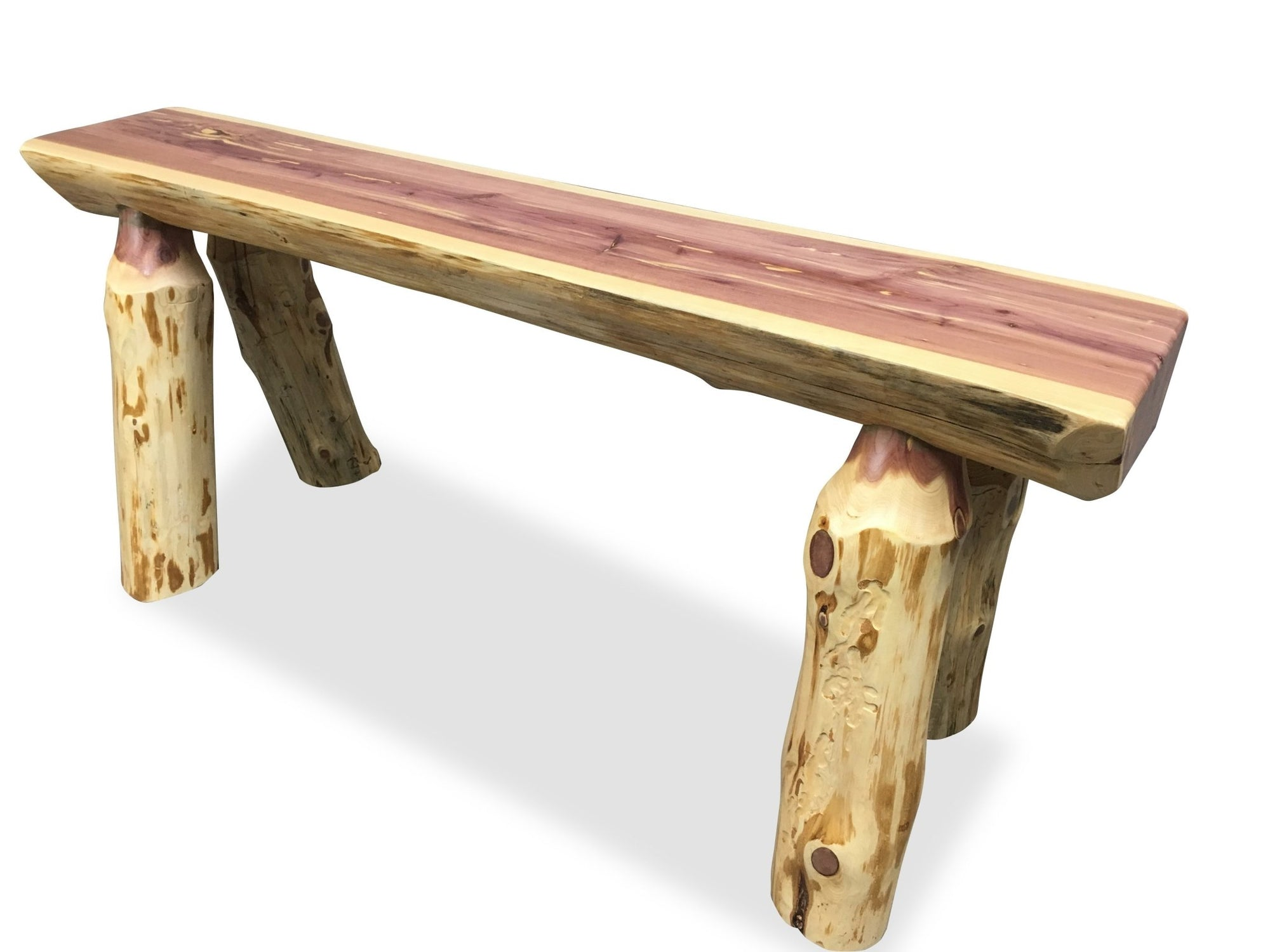 Knaughty Log Co - Knaughty Log Co - Half Log Live Edge Cedar Slab Bench