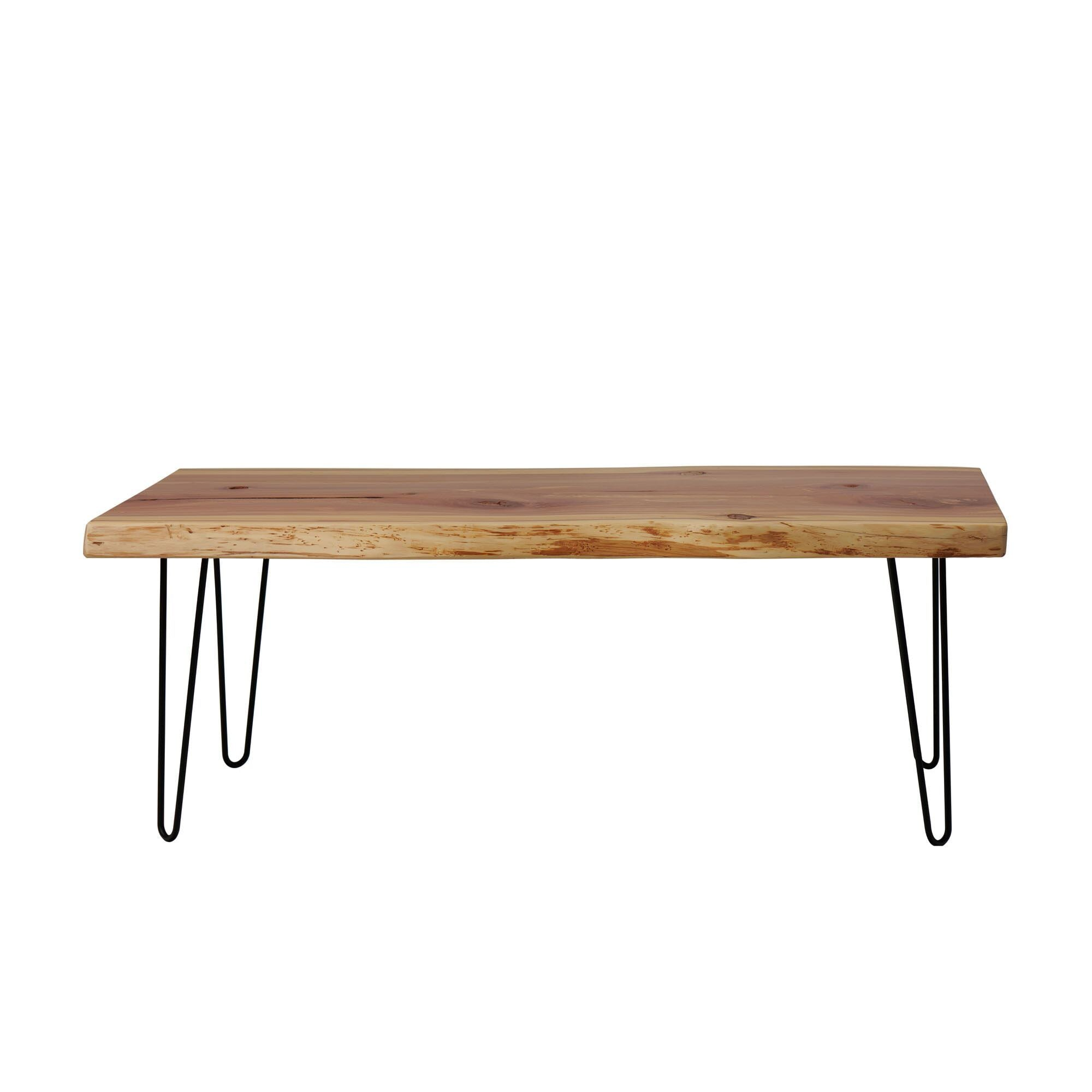 Live Edge Hairpin Slab Coffee Table made by Knaughty Log Co
