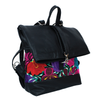 KOMONI BACKPACK NEGRA CON FLORES BORDADAS