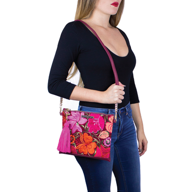 BOLSO FLORAL VINO TOTAL