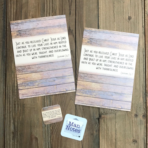 Man Notes Colossians 2:6-7 Envelope - Grace Notes Subscription