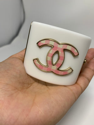 Chanel White & Pink Gingham Cuff - New York Authentic Designer - Chanel