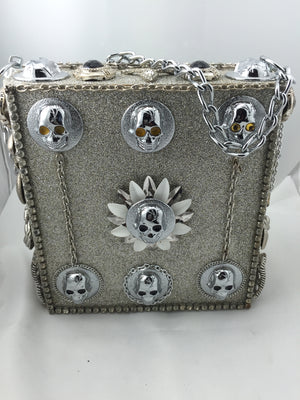 Skull and Glitter Cigar Box Wood Bag - New York Authentic Designer - Skull and Glitter