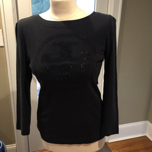 Tory Burch Black Cotton Long Sleeved Top - New York Authentic Designer - Tory Burch