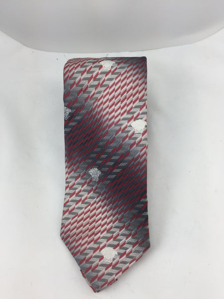 Versace Red and Grey Tie - New Neu Glamour