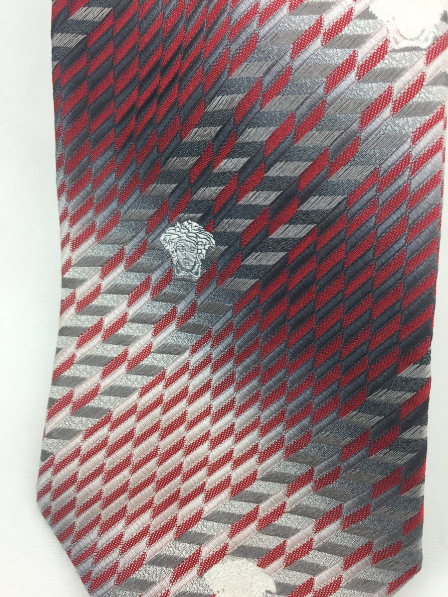 Versace Red and Grey Tie - New York Authentic Designer - Versace