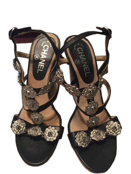Chanel Black and Silver Camellia Shoes - New York Authentic Designer - Chanel