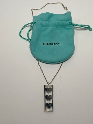 Tiffany Sterling Silver 3 Heart Pendant Necklace! - New York Authentic Designer - Tiffany