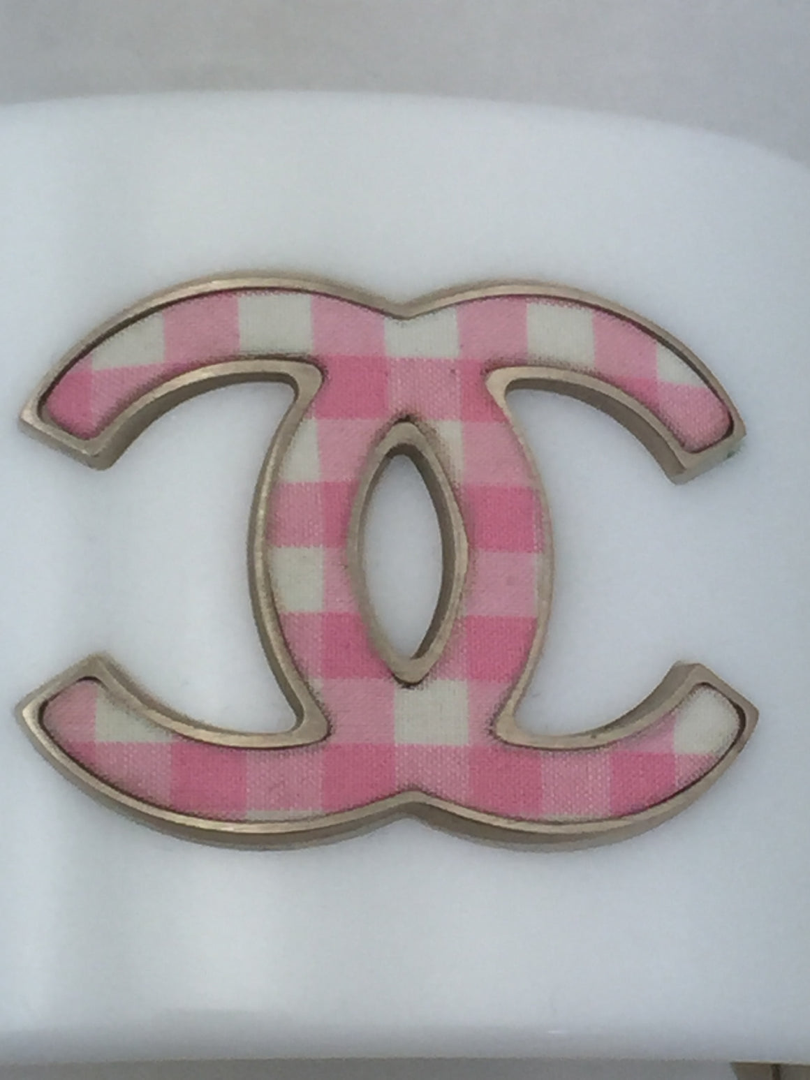 Chanel White & Pink Enamel CC Bracelet - New York Authentic Designer - Chanel