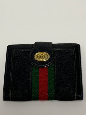 Gucci Black And Green Stripe Wallet! - New York Authentic Designer - Gucci