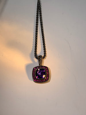 David Yurman Amethyst and Pink Diamond Necklace! - New York Authentic Designer - David Yurman