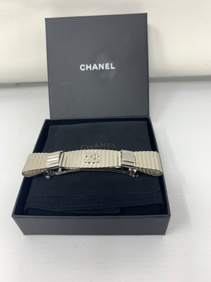 Chanel Silver Ribbon Barrette!