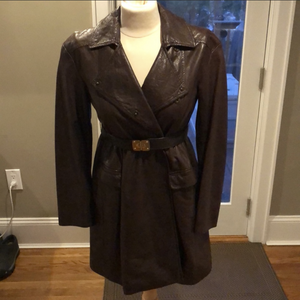 Miu Miu Brown Leather Trench Coat.