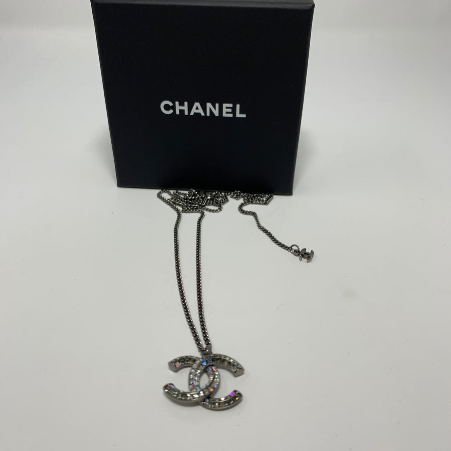 Chanel CC Gunmetal & Rhinestone Necklace - New York Authentic Designer - Chanel