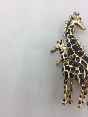 St. John Mother Giraffe and Baby Giraffe Brooch! - New York Authentic Designer - St. John
