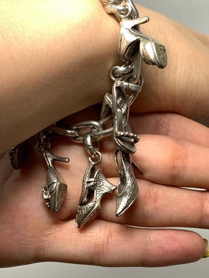 Sterling Silver Shoe Charm Bracelet! - New York Authentic Designer - FAC/ Fine Art